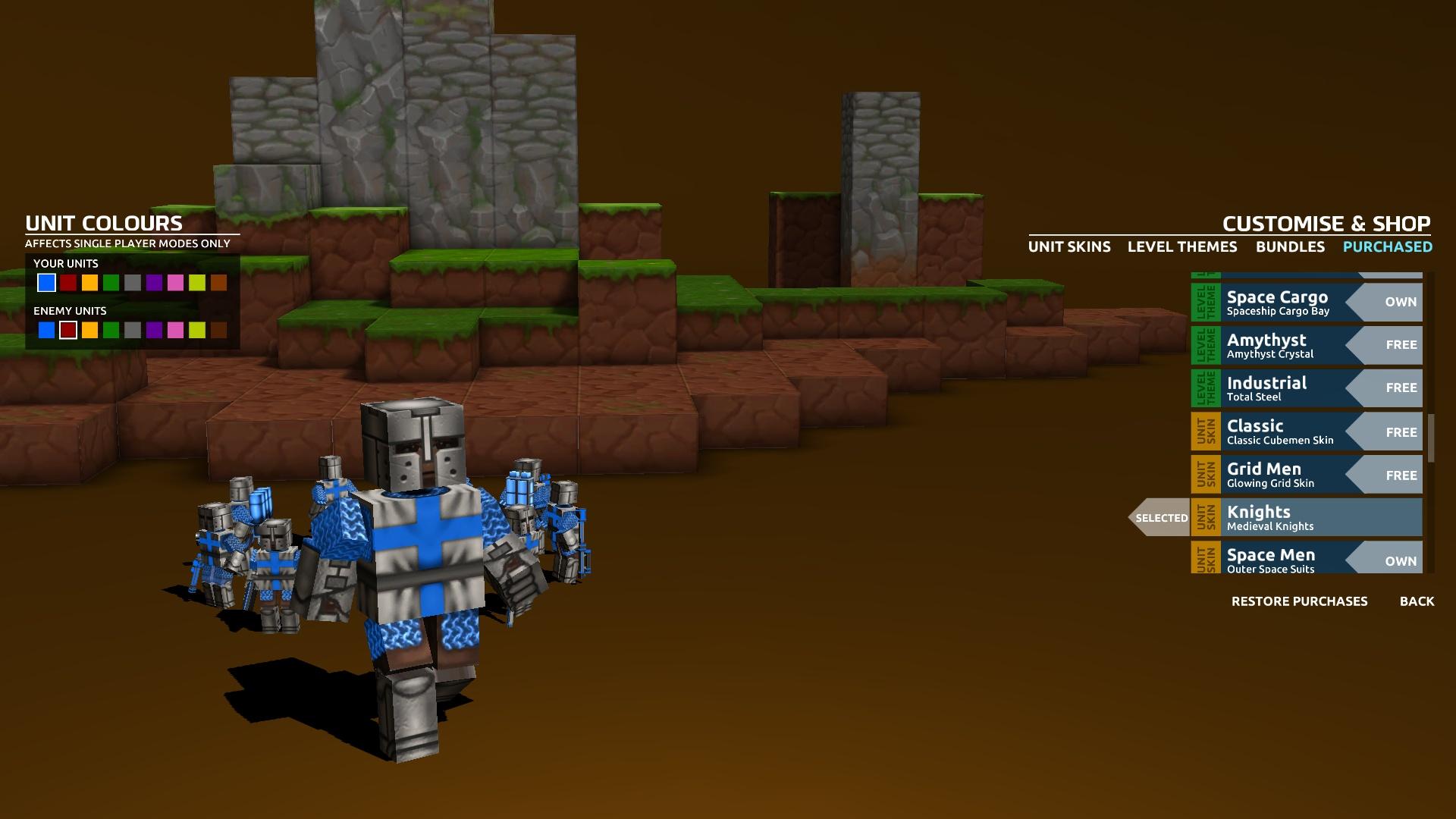 В комплект Cubemen 2 входит громадный пак «шкурок» для локаций и воителей. Например, можно с помощью крестоносцев защищать от вторжения зомби лунные кратеры или стравливать роботов с тайными агентами в мире Minecraft. К сожалению, выглядит все это жутковато — на кубики натянуты текстуры не самого высокого качества.