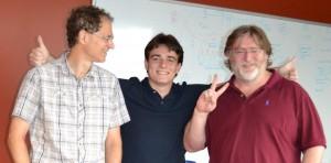Архитекторы будущего. Слева направо: Майкл Абраш, основатель Oculus VR Палмер Лаки и Гейб Ньюэлл.