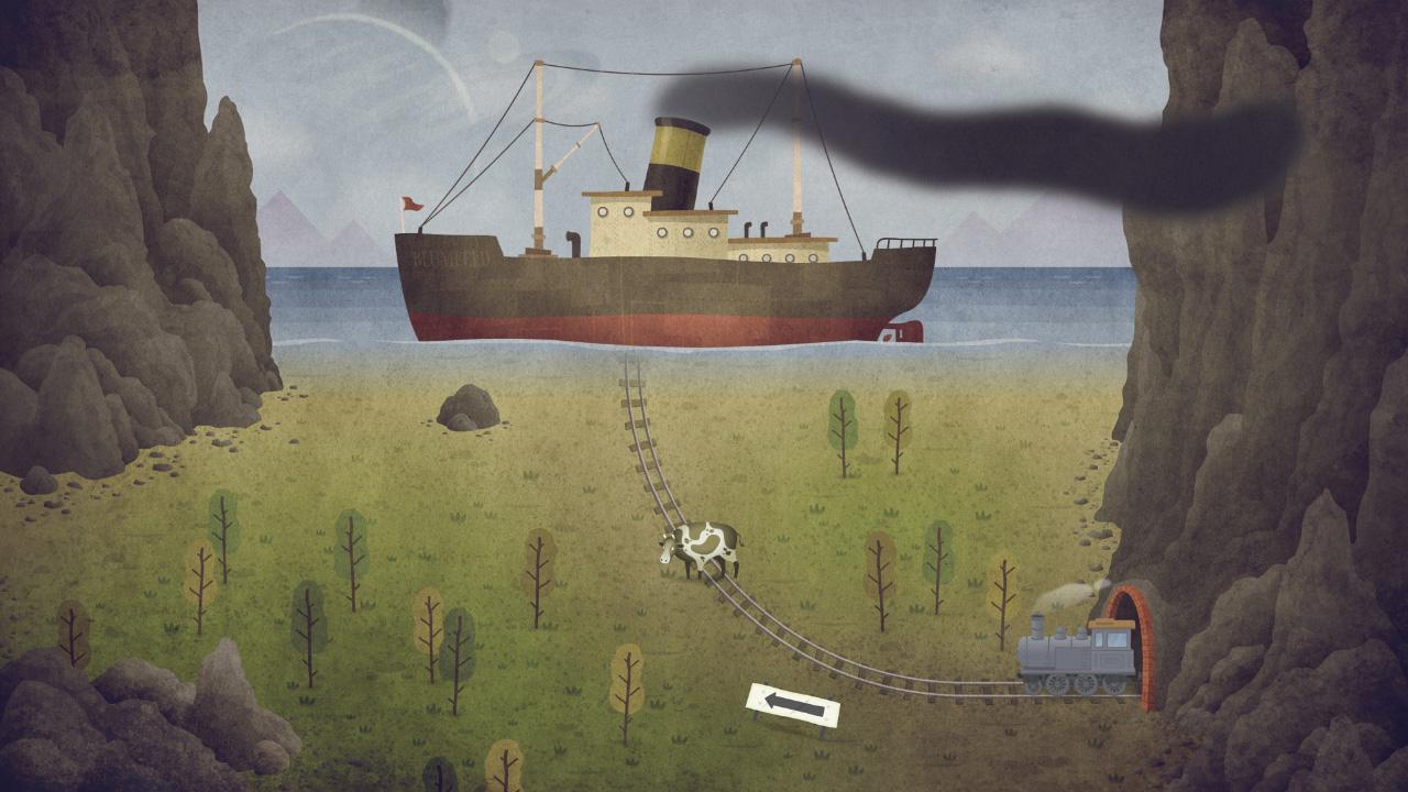 Галанин сознательно делает ставку на абсурд, странности и условности. Железная дорога, вгрызающаяся в океан, пароход, корова… В данной сцене это только цветочки. Разработчик делает скриншоты так, чтобы игрок не мог по ним заранее «вычислить» головоломку и тем более понять ответ. То же про трейлеры – в дебютном ролике есть момент из уровня «WW1 с монстром», но там отсутствует… ой, молчу.