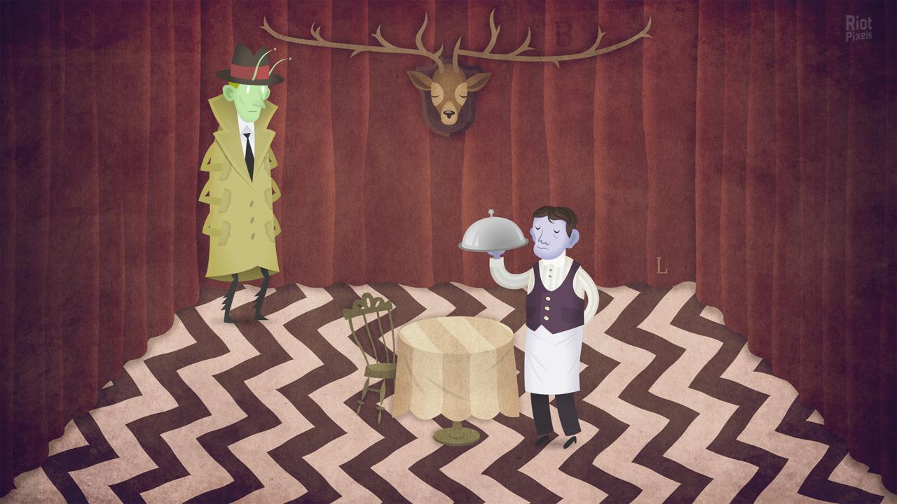 Отсылка к сериалу «Твин Пикс»? Кстати, это кадр из второй половины адвенчуры, где в центре внимания – новый герой. Время действия тоже другое. По настроению первая (главы 1–3) и вторая части (глава 4) отличаются как две совершенно разные игры.